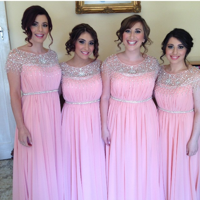 Beading Bridesmaid Dress 2016 Pink C Blue Ivory Mint Green Cap Sleeve
