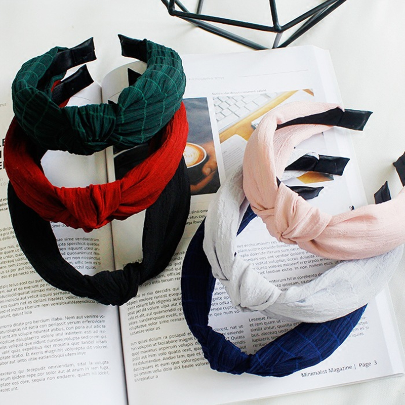 Fashion Cloth Broadside hair hoop accessories for Women Girl solid knot Twist Elastic Headband Hairband scrunchy headdress tiara