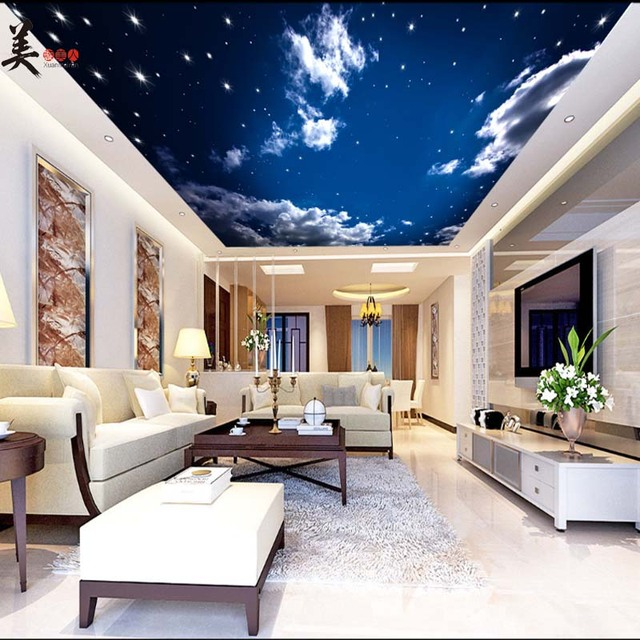 Pvc Stretch Clouds Starry Sky Ceiling Wallpaper 3d Photo