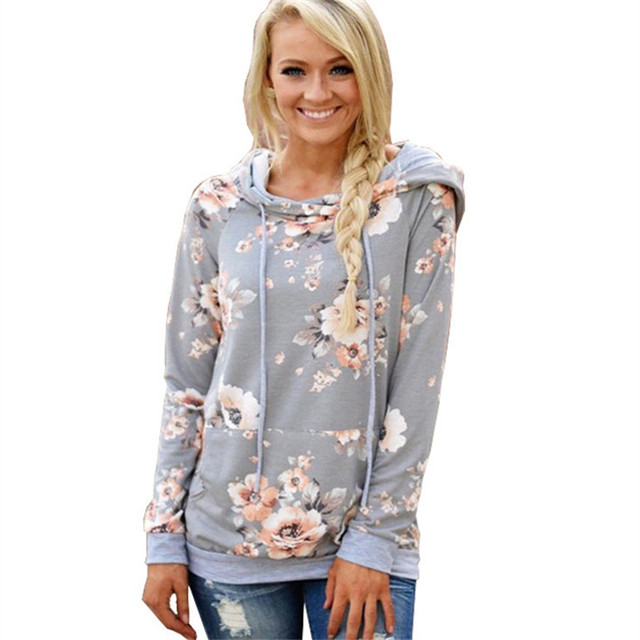 Floral Print Hoodie Women Jumper 2018 Autumn Winter Hooded Sweatshirt Fashion Long Sleeve Pullover Tracksuits Sudaderas Mujer
