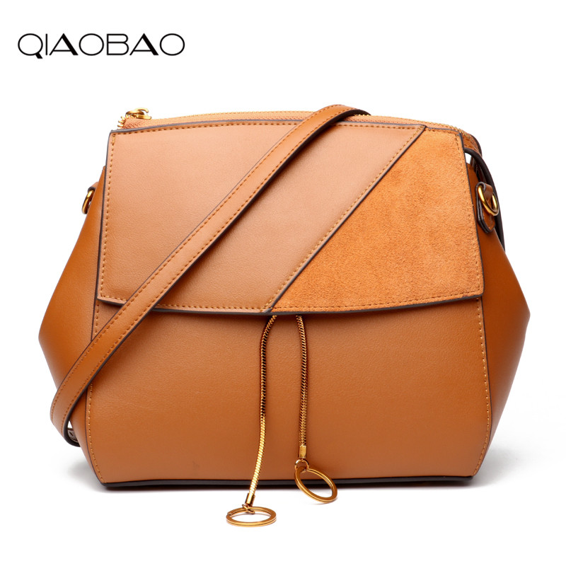 QIAOBAO 2016 Fashion 100% Genuine Leather With Suede Flap Bag Women Messenger Bags Women Shoulder Bags Crossbody Bags For Lady new women genuine leather handbags shoulder messenger bag fashion flap bags women first layer of leather crossbody bags