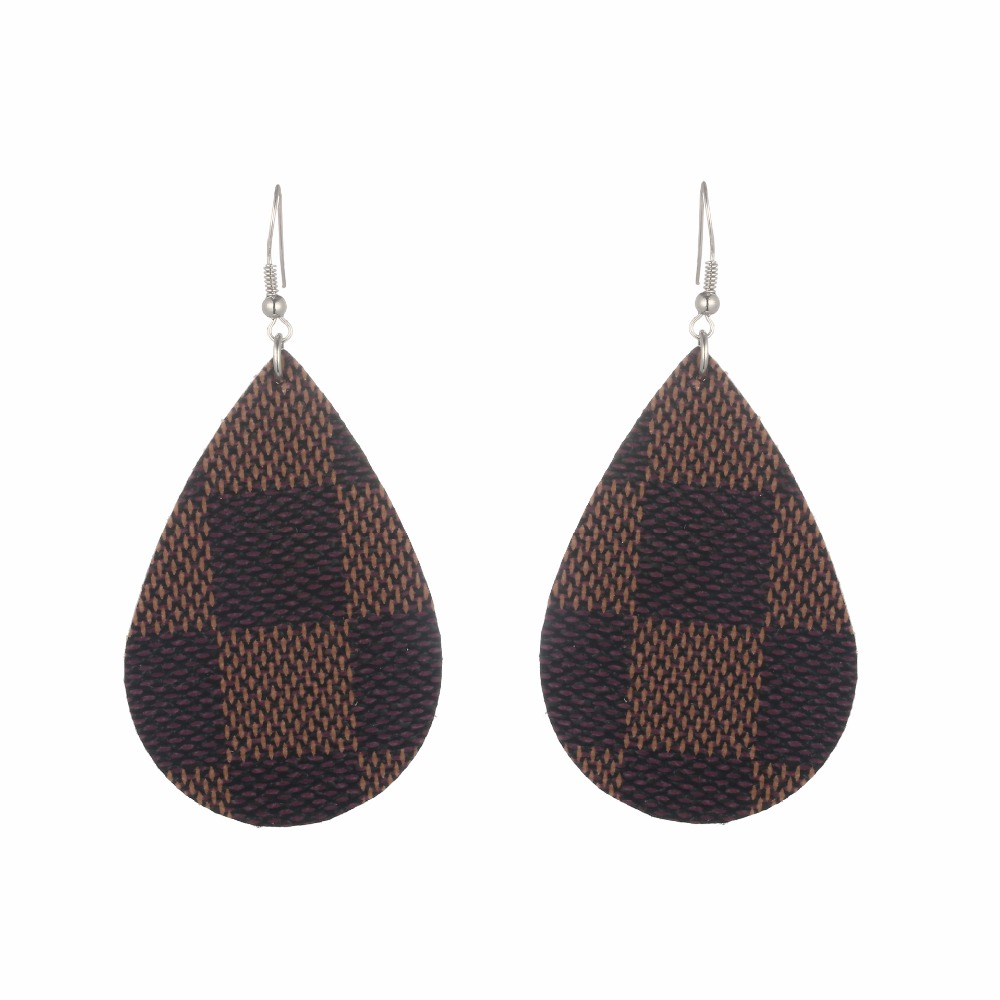 2018 Creative Check Leather Football Earrings For Woman ...