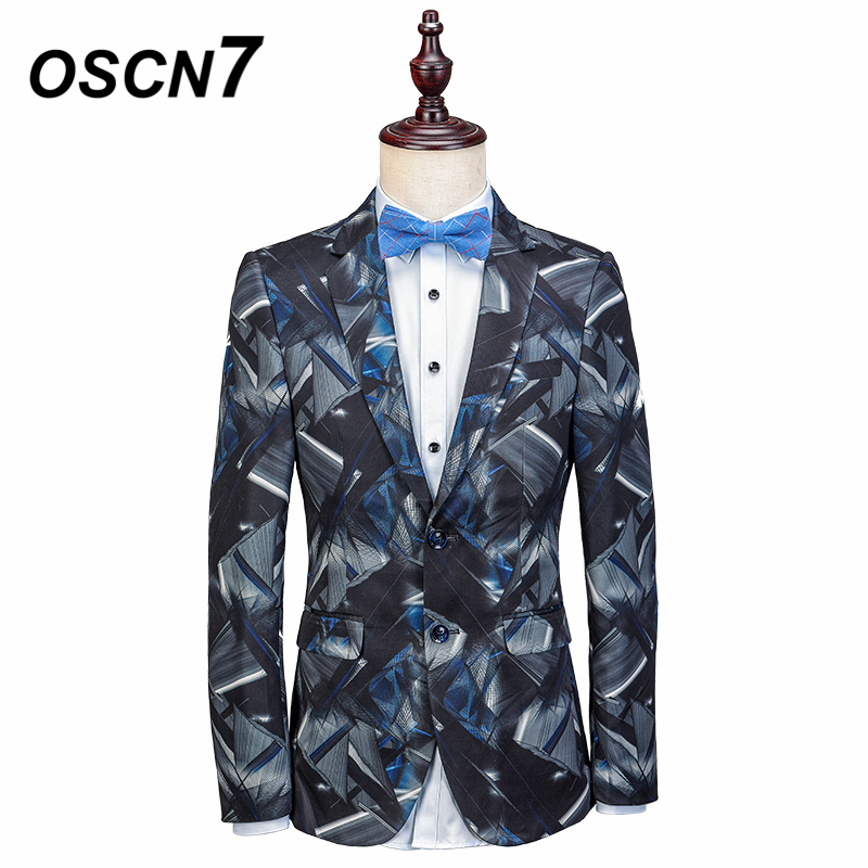 OSCN7 Printed Tailor Made Suits Men 2018 New Party Fancy Mens Fashion Custom Made Suit Plus Size Leisure Mens Suits