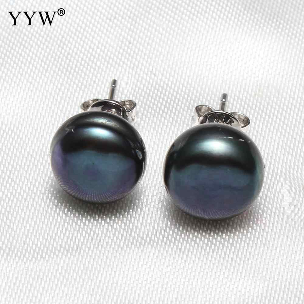天然淡水真珠のスタッドのイヤリング黒紫色のピンクのボタンパールビーズ耳スタッド真鍮ポストピン女性のための販売ペア