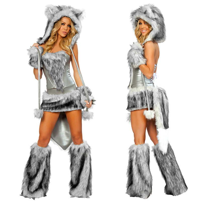 High Quality 2017 New Sexy Wolf Girl Costume Sexy Wolf Costumes Halloween Furry -5625