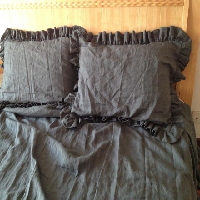 Kräuselte Gewaschen Leinen Bettbezug Grau Doppelbett Abdeckung Flachs Leinen  Bettwäsche Kinder Fundas Nordicas Infantiles Housse De