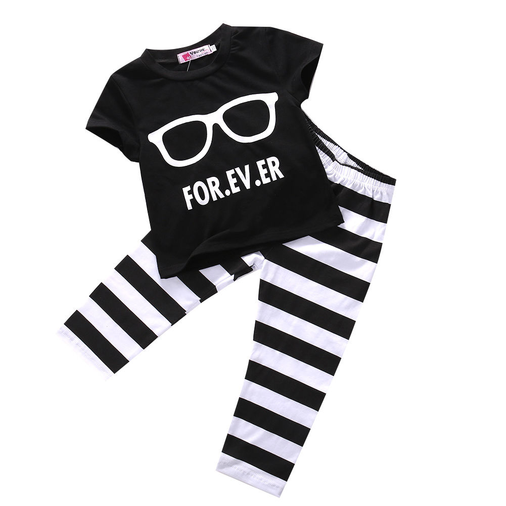 Casual Newborn Baby Boy Cotton Clothing Outfits Set Tops Glasses Printing T-shirt striped Pants Scarf 3pcs Clothes