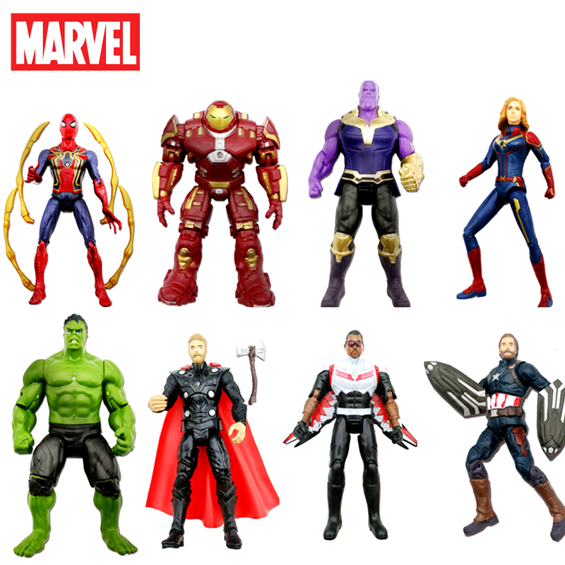 Disney Marvel Avengers Toys Thanos Hulk Buster Spiderman Iron Man Captain America Thor Sound and light Action Figure Dolls image