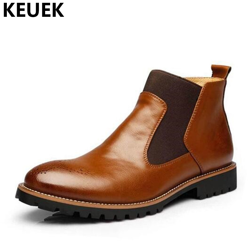 Spring Autumn Men Chelsea Boots Genuine leather Pointed Toe Slip On Martin boots Large size Ankle Boots Male shoes 061