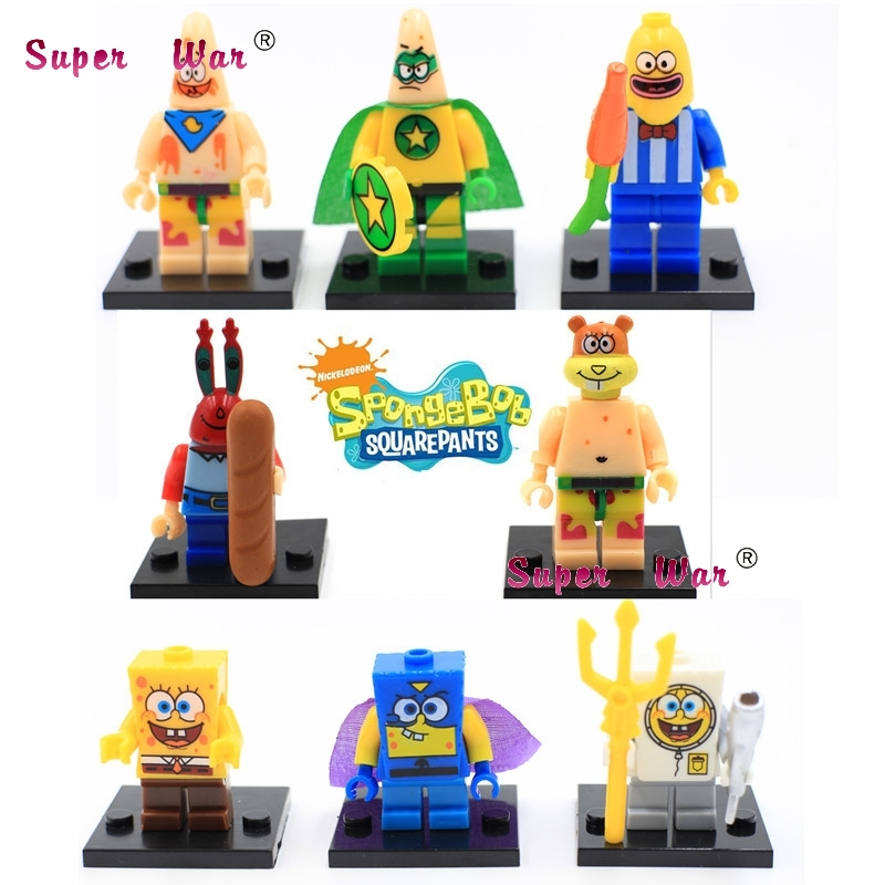 80pcs starwars superhero Spongebob Big Star Squarepants blocks bricks friends for girl boy house games kids children toys