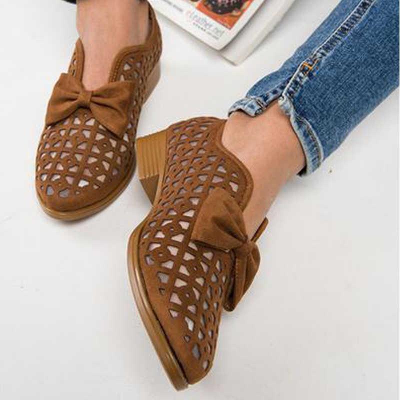 SHUJIN 2019 Mùa Xuân Mới Bowtie Mũi Nhọn Nữ Bơm Giày Dành Cho Người Phụ Nữ Nền Tảng Slip On Loafer Da Feminino Zapatos De mujer
