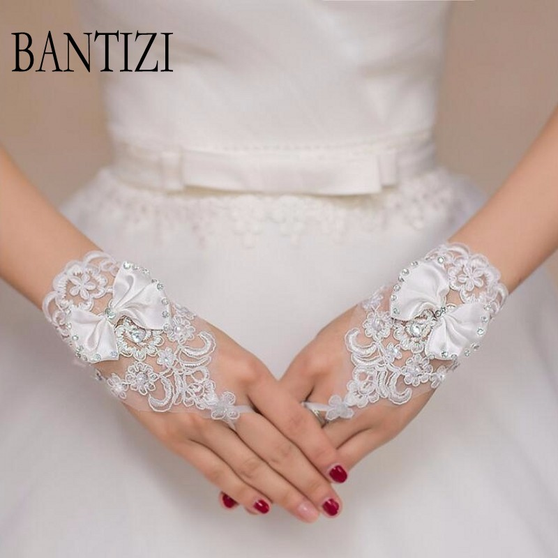 Cheap White or Ivory Wedding Gloves Beaded Short Fingerless Bridal Gloves For