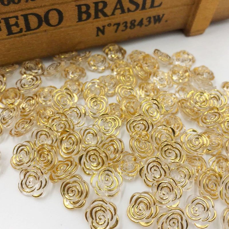 10/50/100pcs Gold edge transparent rose flower acrylic buttons for decoration handmade craft sewing accessories PT134
