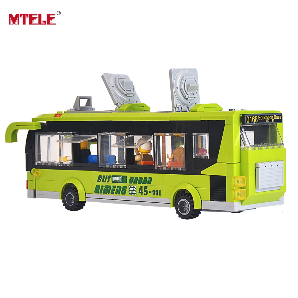 MTELE Brand 1121 Toy City Green Bus Building Blocks Brick Kid Toys Gift Compatible with Lego High Quality mtele brand magnetic designer 68 89 pcs magnetic building in blocks brick toy education educational for toddlers baby kid toy