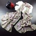 Старинные печати шифон дизайнер чистая длинный шелковый шарф площади моды для женщин натуральный цветочный женский дамы большой шеи шарфы из китая
