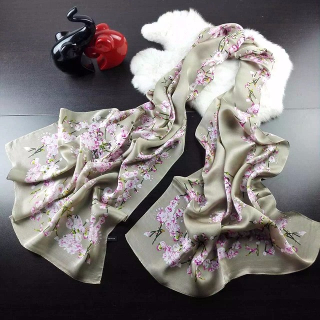 Impresión de la vendimia gasa diseñador flor natural puro larga bufanda cuadrada de seda de las mujeres de moda femenina señoras grandes de cuello bufandas de china