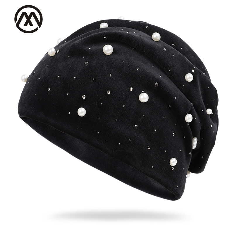 Woolen Hat Decorative-Knit Pearl Diamond Female Outdoor Cotton New Winter Warm Wild Available