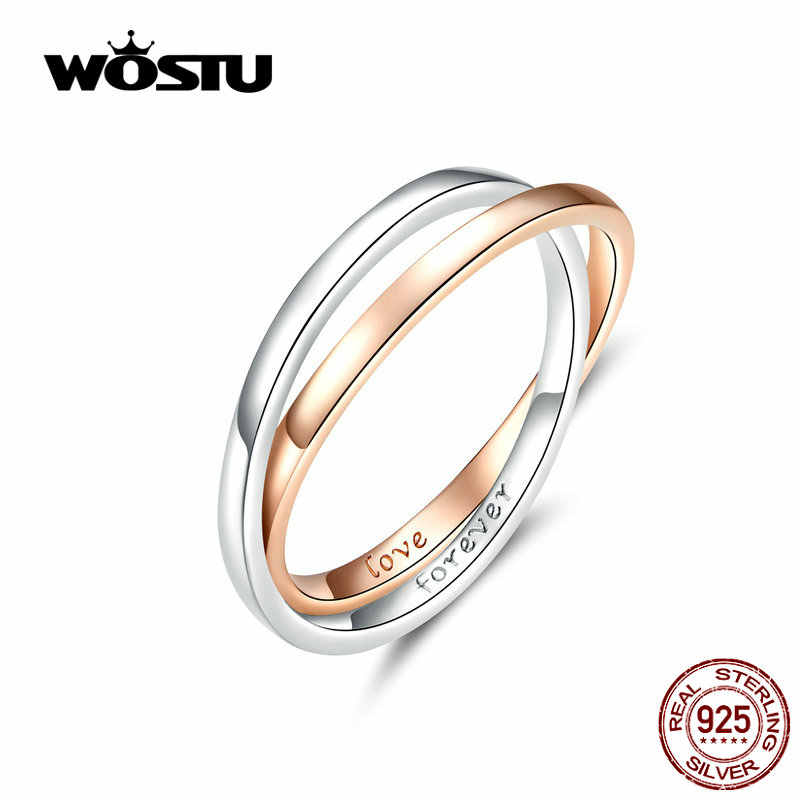 WOSTU 2019 New Design Double Rings  Hot Fashion 100% Real Sterling Silver Rings Love Forever Making Gift For Lover CTR053