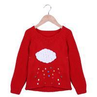 Koreański Zima Ciepły Sweter Dziewczyny Dzieci Swetry Cartoon Chmury Raindrops Dzianiny Sweter Odzież Dla Dzieci Odzież Dla Dzieci Dziewczyny