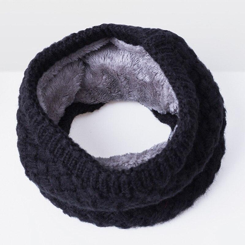 Зимний теплый шарф вельветовый хлопковый шарф на шею для мальчиков и девочек удобный для мужчин и женщин - Цвет: Black