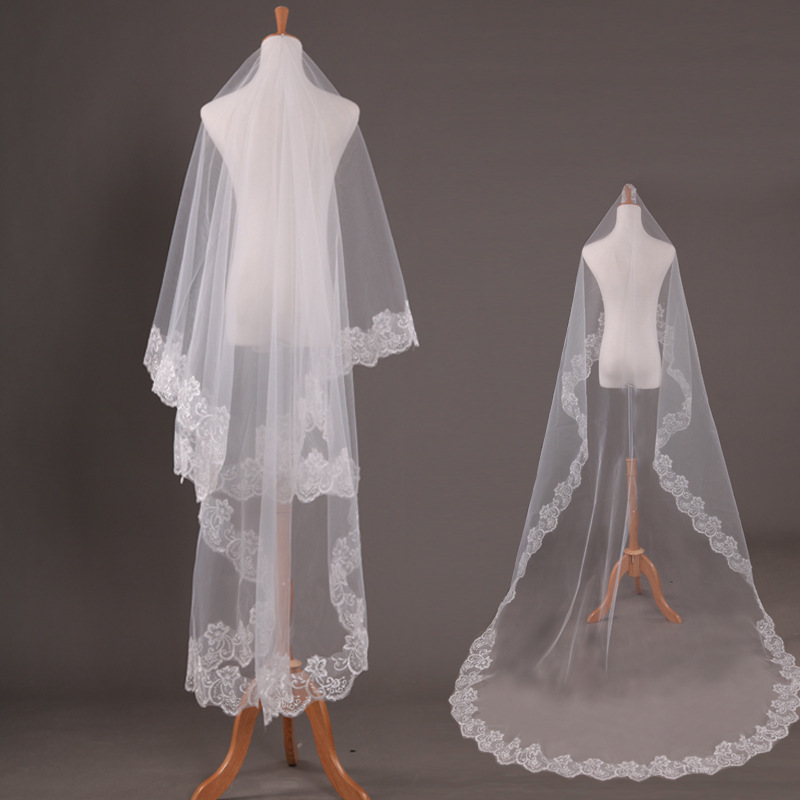 Voile Mariage 5M One Layer Lace Edge White Ivory Cathedral Wedding Veil Long Bridal Veil Cheap Wedding Accessories Veu de Noiva