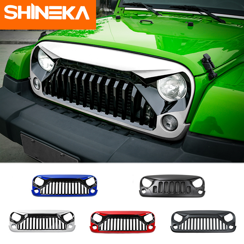 SHINEKA Second Gen Black White Red Blue Bird Grille Grill Inserts for Jeep Wrangler JK 2007 Up Car Accessories гриль акустический naim grille assy mu so red