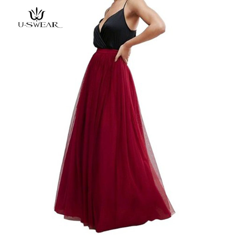 U-SWEAR Maxi Long Skirt Women Tulle Skirt Summer 2018 Plus Size Women Wedding Bridesmaid Skirt Autumn Tutu Skirt For Women Drop
