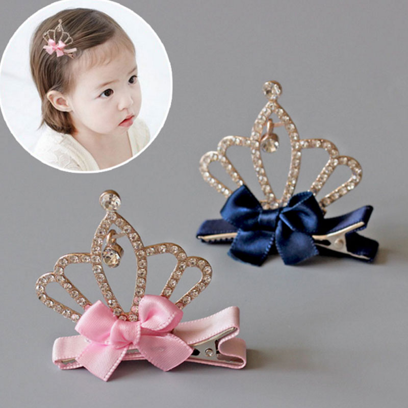 M MISM Girl Shiny Rhinestone Ribbon Bow-knot Hairpins Crystal Crown Beautiful Hairgrips Lovely Kids Accessories Hair Clips m mism girl cute hairball hairpins lovely colorful hairgrips kids accessories new arrival hair clips headwear best gift to kids