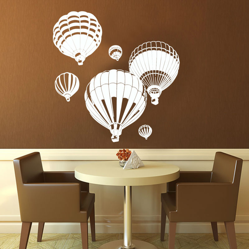 DCTOP 6pcs Hot Air Balloon Wall Stickers Removable DIY