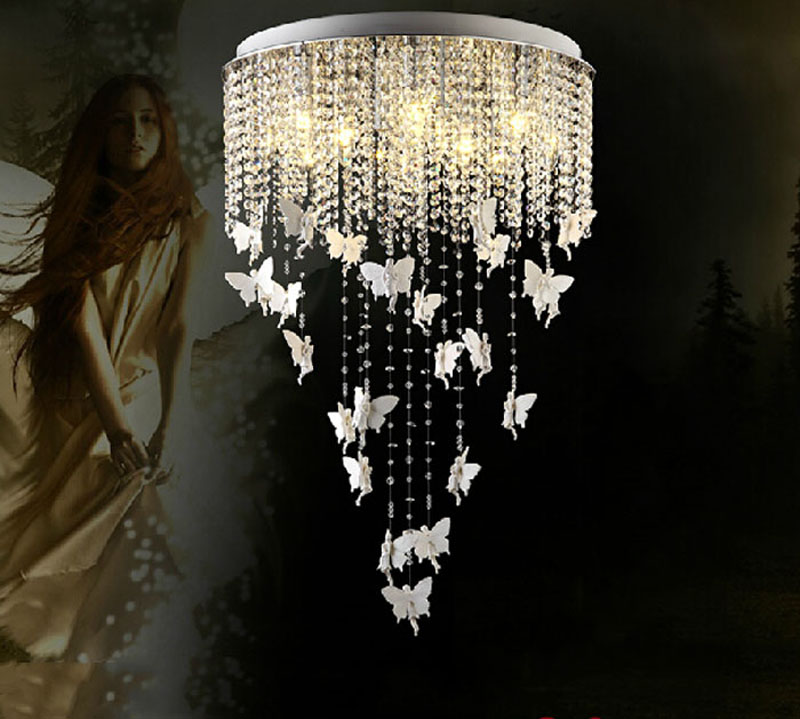 Nordic fashion crystal lamp living room lighting European restaurant chandelier angel creative bedroom crystal ceiling lamps modern crystal chandelier led hanging lighting european style glass chandeliers light for living dining room restaurant decor