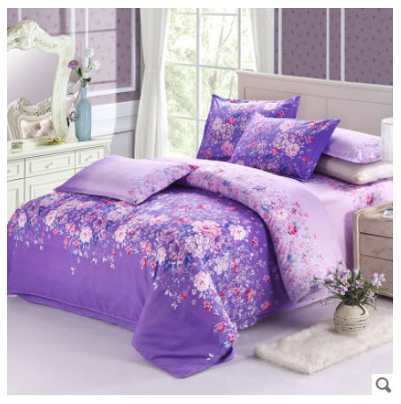 Beautiful Cotton Floral Wonderland Purple Bedding Sets Kingqueen