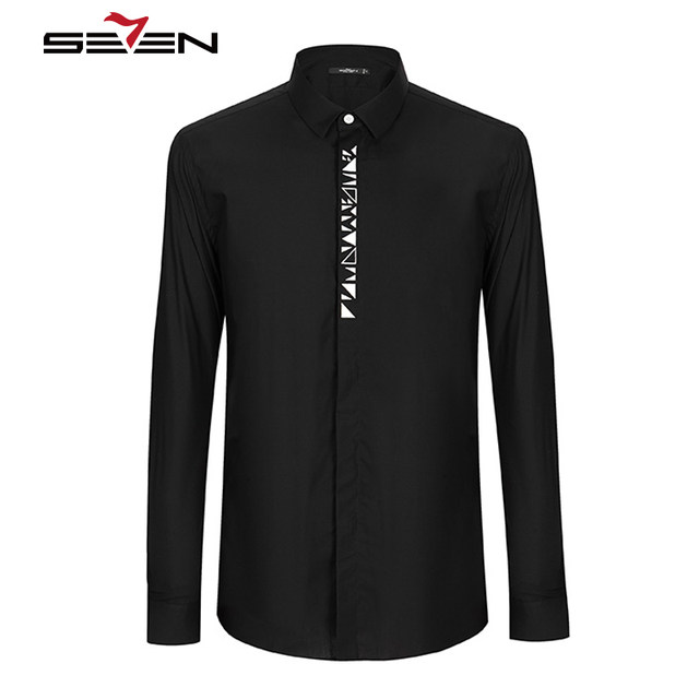 2c83099a978 Seven7 Mens Dress Shirts Cotton Casual Slim Fit Long Sleeve White Black Male  Business Tuxedo Shirt Men Brand Clothing 112A38080