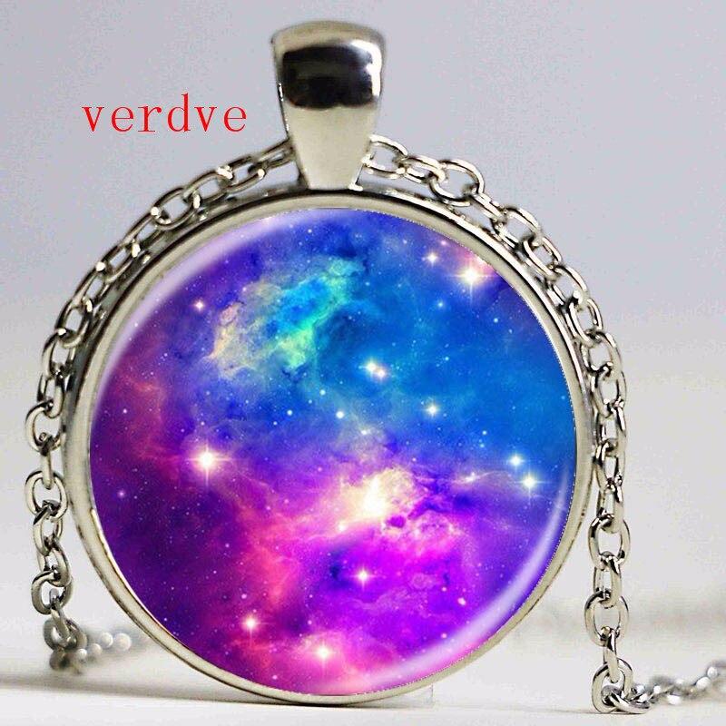 GiftJewelryShop Belize Flag Crescent Moon Galactic Universe Glass Cabochon Pendant Necklace