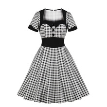 Ladies Office Dress Cotton Women Black Plaid Dress Retro Vintage 50s 60s Square Neck Dresses Working Dresses For Women Office