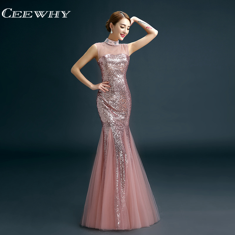CEEWHY Vintage   Evening     Dresses   Sequinated Long Prom Party Formal   Dress   Elegant   Evening   Gown Mermaid   Dress   Robe De Soiree