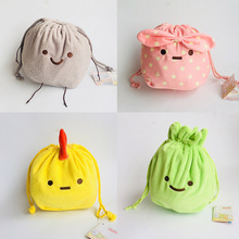 IVYYE 1PCS Yellow Chick Rabbit Cartoon Drawstring Bags Cute Plush storage handbags makeup bag Coin Bundle