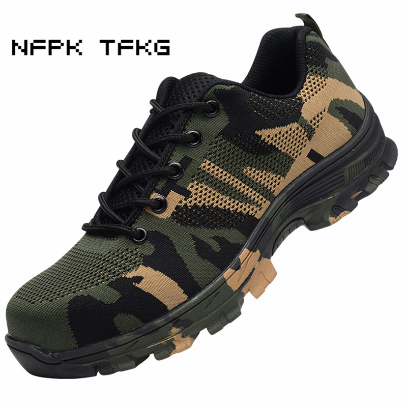 men casual breathable big size steel toe caps work safety summer shoes anti-puncture non-slip tooling boots protective footwear купить недорого в Москве