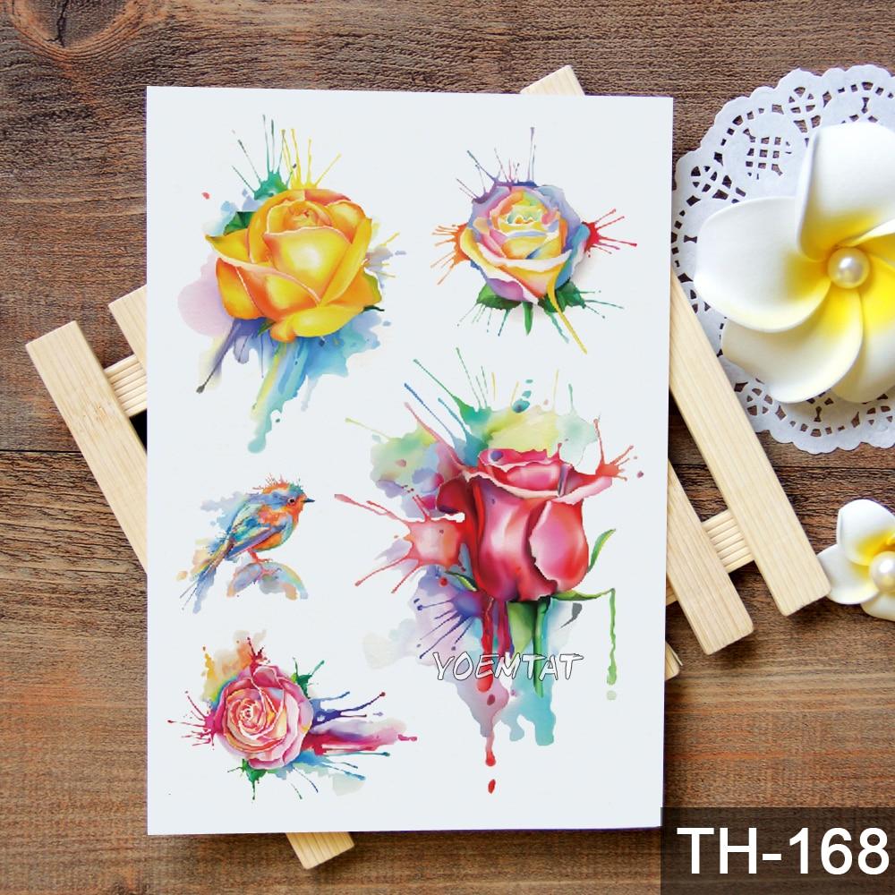 Waterproof Temporary Tattoo Sticker Geometric modern rose flower pattern 5