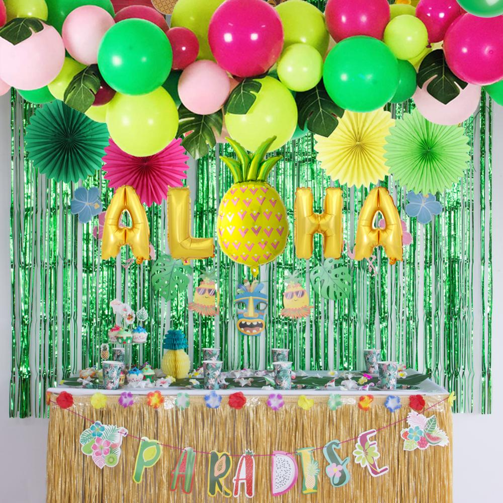 Summer Paradise Tropical Party Decoration Aloha Gold Foil Balloons Latex Ballons Plam Leaves Fans Banner Hawaiian Luau