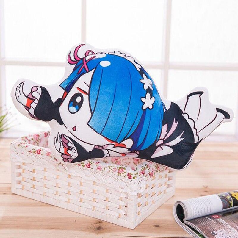 Anime Re: Élet egy másik világban a nulla kétoldalas rem Ram párna aranyos plüss párna dobás párnahuzat babák gyerekek ajándék