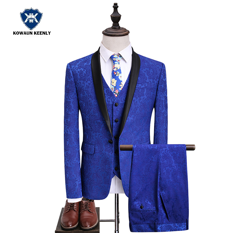 3 предмета свадебный костюм для Для мужчин королевский синий смокинг женихов Для мужчин тонкий твид костюм Принт блейзер Homme 2017 Детский кост