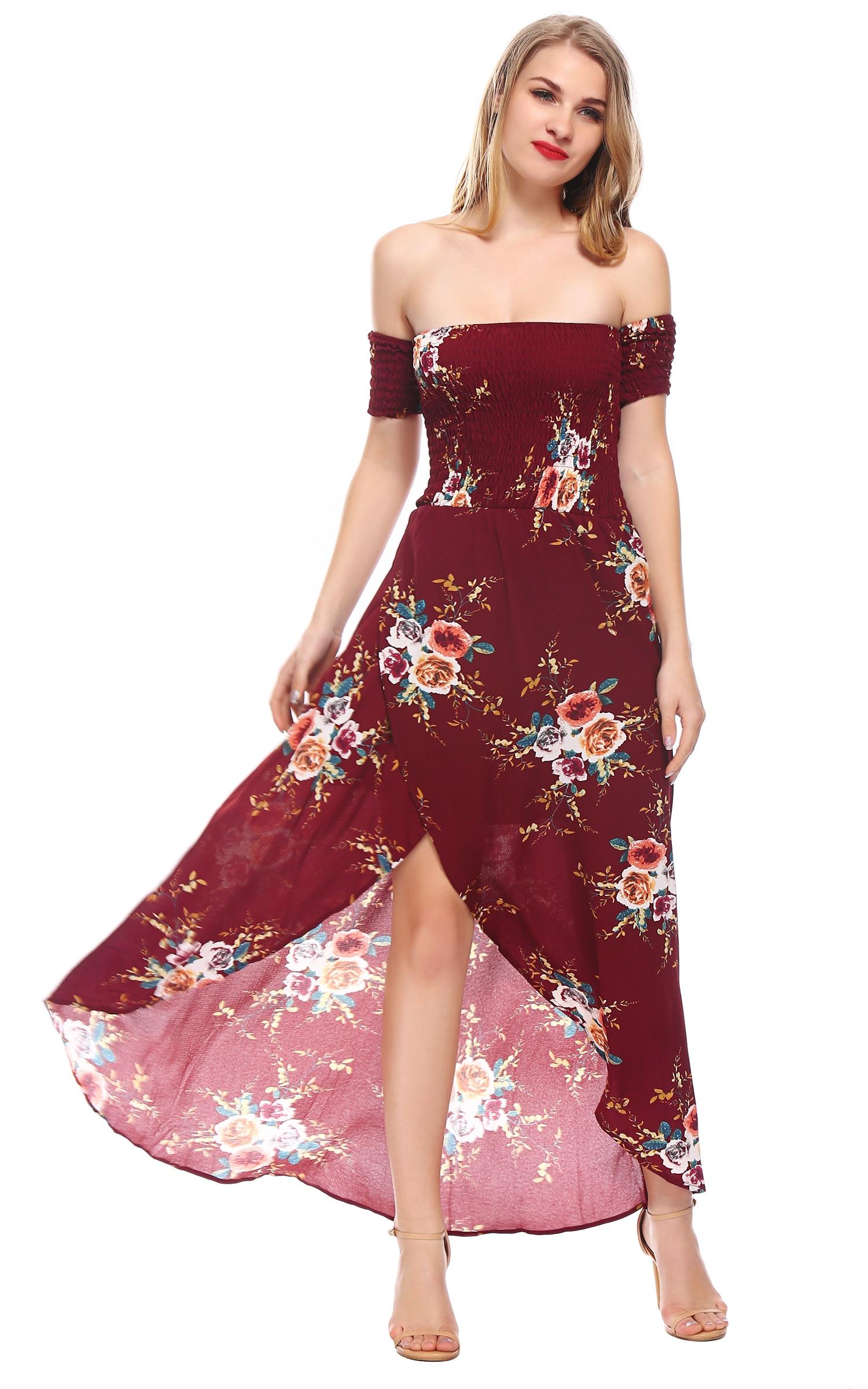 Vestido Largo del verano de Las Mujeres Fuera Del Hombro Vestidos de Playa Maxi