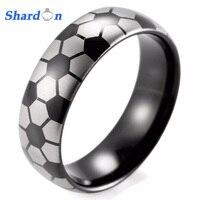SHARDON 8mm Men's Dome Black Tungsten Carbide Soccer Ball design ring with white style lasering Wedding Ring for Men