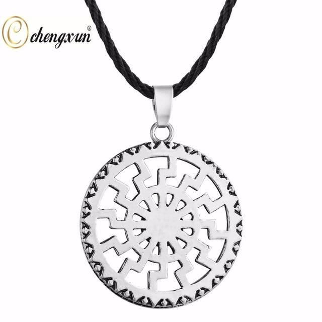 CHENGXUN Indische Buddhistische Svastika Anhänger Seil Halskette Slawischen  Amulett Schwarz Sun Symbol Anhänger Schmuck Heidnischen Männer 8bef96d9e8