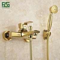 FLG mural laiton Antique brossé plaqué or robinet de baignoire avec douchette salle de bain baignoire douche robinets Torneiras HS038