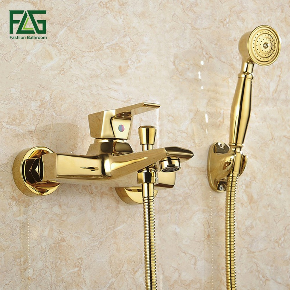 Flg Wall Mounted Antique Brass Brushed Gold Plated Bathtub Faucet With Hand Shower Bathroom Bath