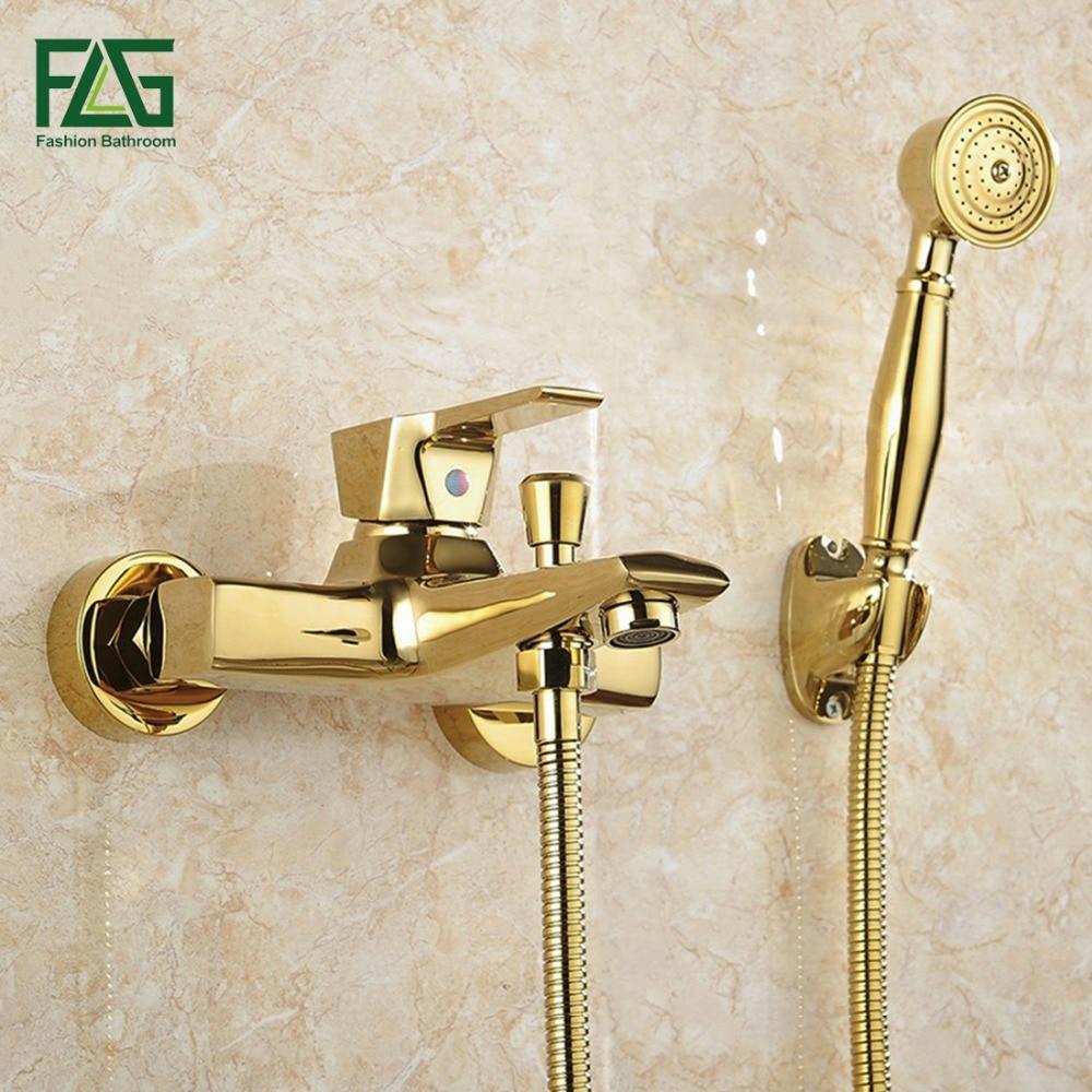 FLG Duvara Monte Antika Pirinç Fırçalanmış Altın Kaplama Küvet Bataryası duş başlığı Banyo Banyo Duş Musluk Torneiras HS038