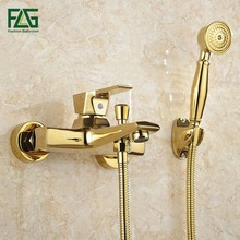 FLG Wall Mounted Antique Brass Brushed Gold Plated Bathtub Faucet With Hand Shower Bathroom Bath Faucets Torneiras HS122
