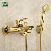 FLG Wall Mounted Antique Brass Brushed Gold Plated Bathtub Faucet With Hand Shower Bathroom Bath Shower Faucets Torneiras HS038