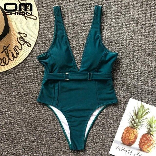 b86fe708517c ... Cintura Alta Terno de Natação LLN49. OMCHION Biquinis Feminino 2019 Sexy  Summer Green One Piece Swimsuit Push Up Beach Swimwear Women High